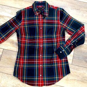 NWT J. CREW Tartan Plaid 100% Cotton Christmas Holiday Button Down Shirt